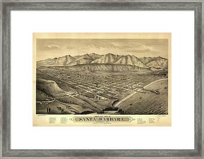 1877 Santa Barbara California Map Framed Print by Dan Sproul