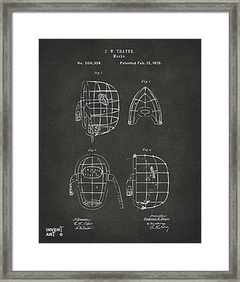 1878 Baseball Catchers Mask Patent - Gray Framed Print by Nikki Marie Smith