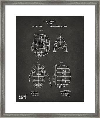 1878 Baseball Catchers Mask Patent - Gray Framed Print