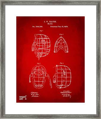 1878 Baseball Catchers Mask Patent - Red Framed Print by Nikki Marie Smith