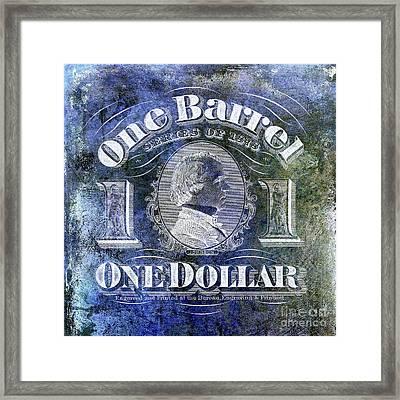 1878 Beer Barrel Tax Stamp Blue Framed Print