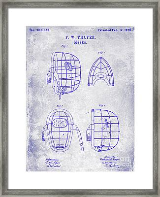 1878 Catchers Mask Patent Blueprint Framed Print by Jon Neidert