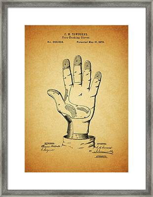 1878 Corn Husking Glove Patent Framed Print