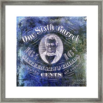 1878 One Sixth Beer Barrel Tax Stamp Blue Framed Print