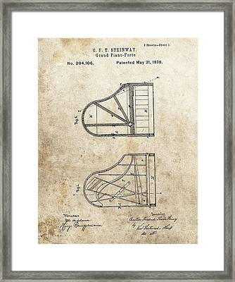 1878 Steinway Grand Piano Patent Framed Print by Dan Sproul