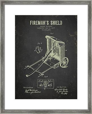 1879 Firemans Shield - Dark Grunge Framed Print