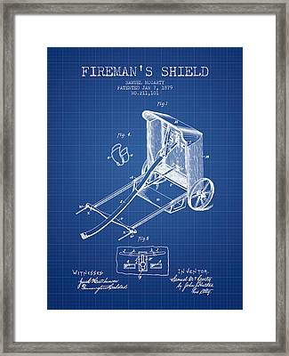 1879 Firemans Shield Patent - Blueprint Framed Print by Aged Pixel