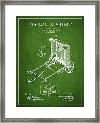 1879 Firemans Shield Patent - Green Framed Print