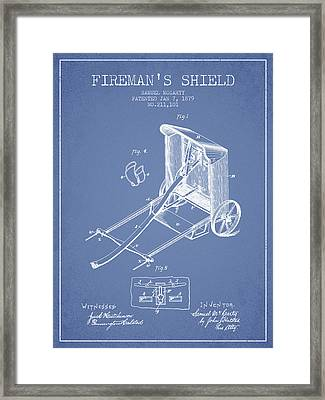 1879 Firemans Shield Patent - Light Blue Framed Print by Aged Pixel