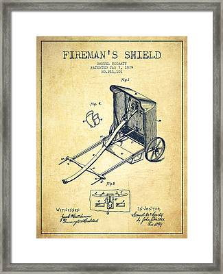 1879 Firemans Shield Patent - Vintage Framed Print by Aged Pixel