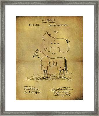 1879 Horse Coat Patent Framed Print by Dan Sproul