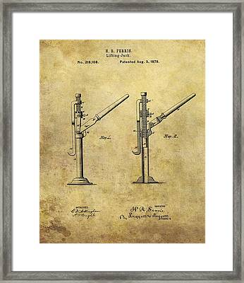 1879 Lifting Jack Patent Framed Print by Dan Sproul