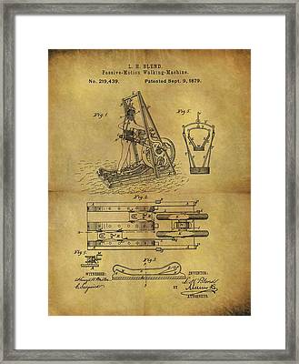 1879 Treadmill Patent  Framed Print by Dan Sproul