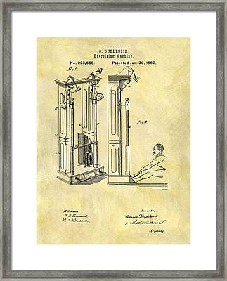 1880 Exercising Machine Patent Framed Print by Dan Sproul
