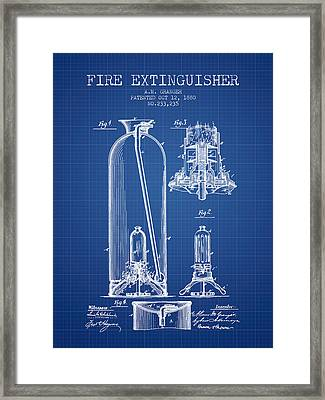 1880 Fire Extinguisher Patent - Blueprint Framed Print by Aged Pixel
