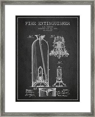 1880 Fire Extinguisher Patent - Charcoal Framed Print by Aged Pixel