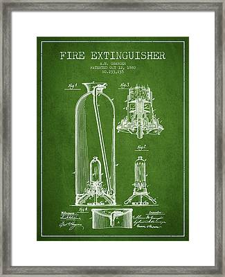 1880 Fire Extinguisher Patent - Green Framed Print