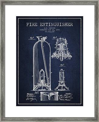 1880 Fire Extinguisher Patent - Navy Blue Framed Print by Aged Pixel