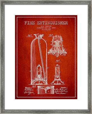 1880 Fire Extinguisher Patent - Red Framed Print by Aged Pixel