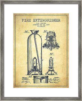 1880 Fire Extinguisher Patent - Vintage Framed Print by Aged Pixel