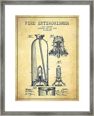 1880 Fire Extinguisher Patent - Vintage Framed Print by Aged Pixel