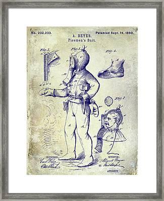 1880 Fireman Suite Patent Framed Print