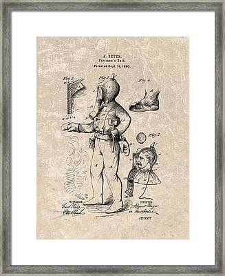 1880 Firemen's Suit Patent Framed Print by Dan Sproul