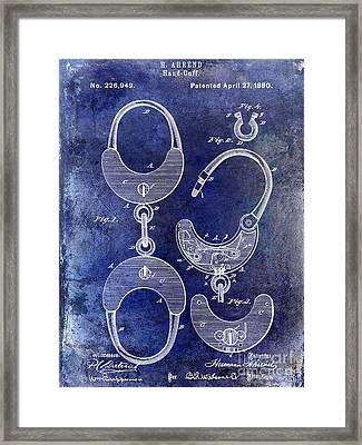 1880 Handcuff Patent Blue Framed Print by Jon Neidert