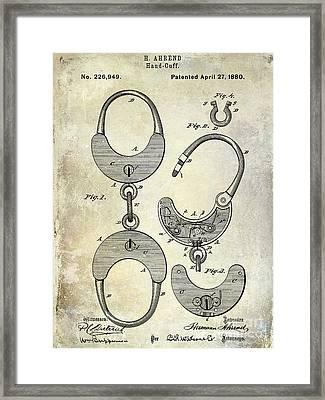 1880 Handcuff Patent Framed Print by Jon Neidert