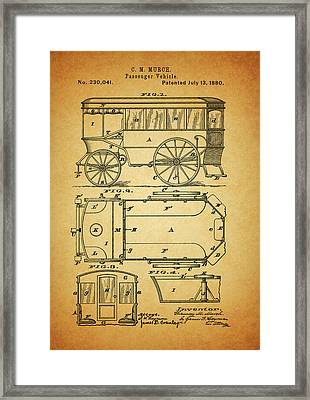 1880 Passenger Wagon Patent Framed Print by Dan Sproul