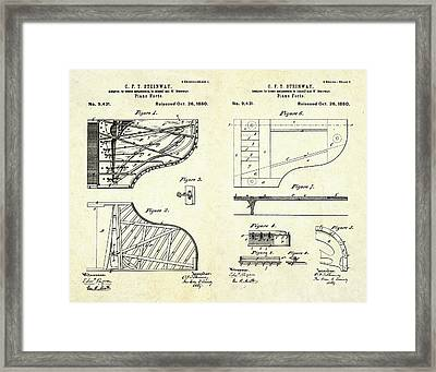1880 Steinway Piano Forte Patent Art Sheets V2 Framed Print by Gary Bodnar