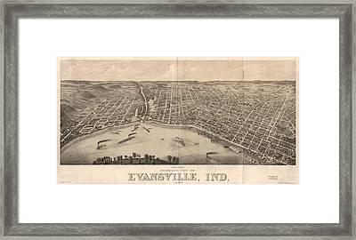 1880 Vintage Evansville Map Framed Print