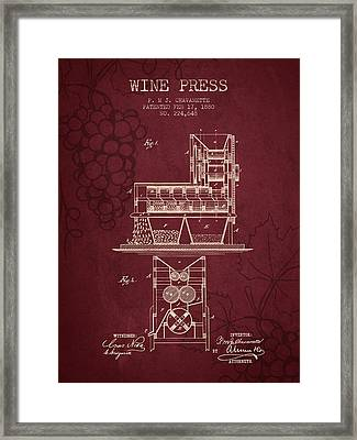 1880 Wine Press Patent - Red Wine Framed Print by Aged Pixel