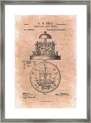 1881 Alexander Graham Bell Electric Call Bell Patent Art 1 Framed Print by Nishanth Gopinathan