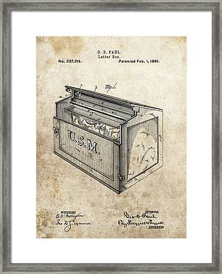 1881 Mailbox Patent Framed Print by Dan Sproul