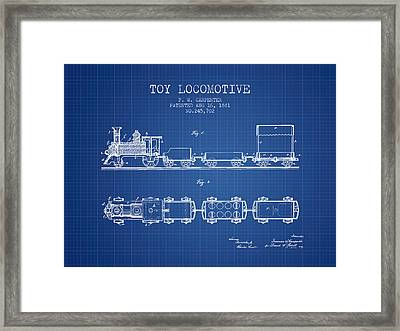 1881 Toy Locomotive Patent - Blueprint Framed Print by Aged Pixel