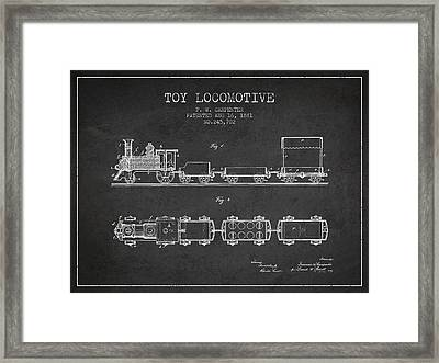 1881 Toy Locomotive Patent - Charcoal Framed Print by Aged Pixel
