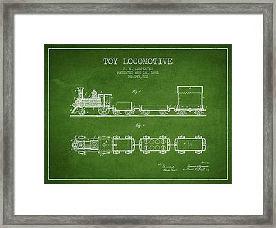 1881 Toy Locomotive Patent - Green Framed Print by Aged Pixel