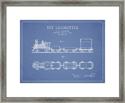 1881 Toy Locomotive Patent - Light Blue Framed Print by Aged Pixel