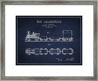 1881 Toy Locomotive Patent - Navy Blue Framed Print by Aged Pixel
