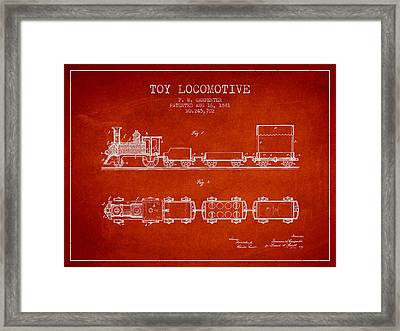 1881 Toy Locomotive Patent - Red Framed Print by Aged Pixel