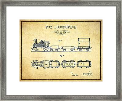 1881 Toy Locomotive Patent - Vintage Framed Print by Aged Pixel