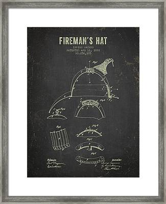 1882 Firemans Hat Patent - Dark Grunge Framed Print