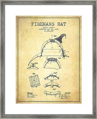 1882 Firemans Hat Patent - Vintage Framed Print by Aged Pixel