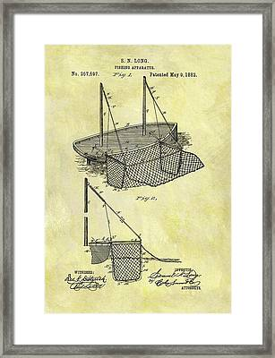 1882 Fishing Net Patent Framed Print by Dan Sproul