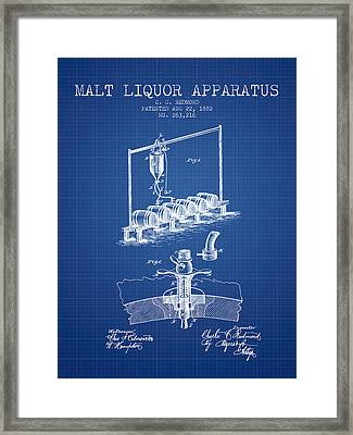 1882 Malt Liquor Apparatus Patent - Blueprint Framed Print by Aged Pixel