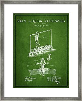 1882 Malt Liquor Apparatus Patent - Green Framed Print by Aged Pixel