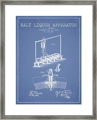 1882 Malt Liquor Apparatus Patent - Light Blue Framed Print by Aged Pixel