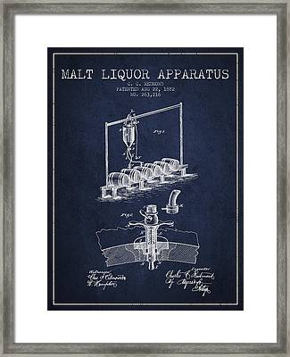 1882 Malt Liquor Apparatus Patent - Navy Blue Framed Print by Aged Pixel