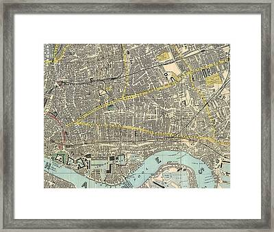1882 Map Of The East End Of London Framed Print by Celestial Images